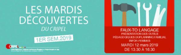 Les Mardis Découvertes du CRIPEL : FAUX-TO LANGAGE - 12 mars 2019