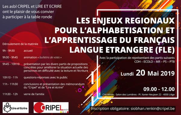 Les enjeux régionaux pour l'alphabétisation et l'apprentissage du français langue étrangère - le 20 mai