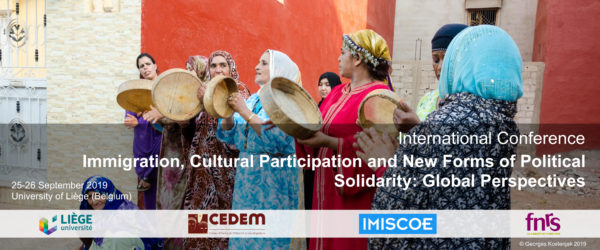 """International Conference """"Immigration, Cultural Participation and New Forms of Political Solidarity"""" - 25 et 26 septembre"""