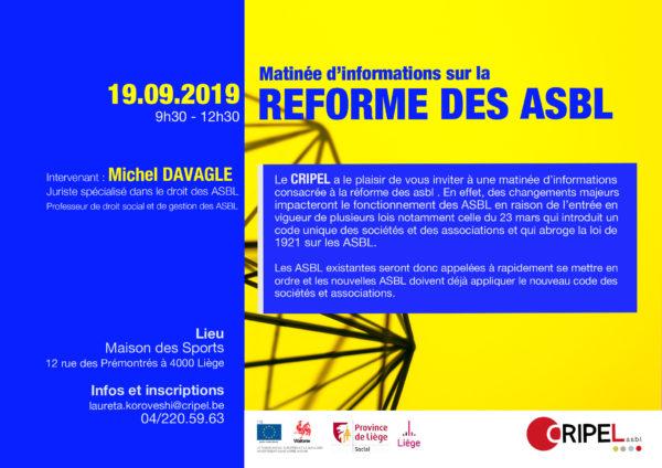 Matinée d'informations sur la réforme des ASBL - 19 septembre de 9h30 à 12h30