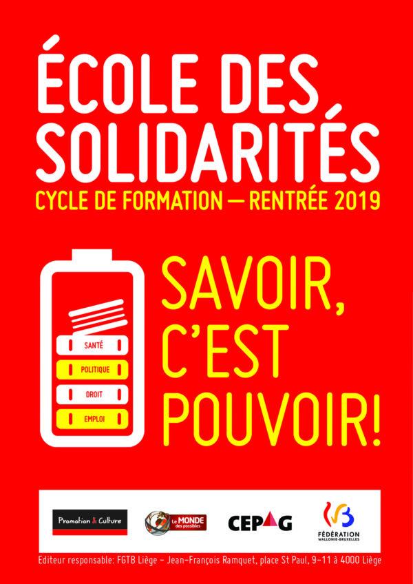 """L'école des solidarité """"Savoir c'est pouvoir"""" - Cycle de formation (Rentrée 2019)"""