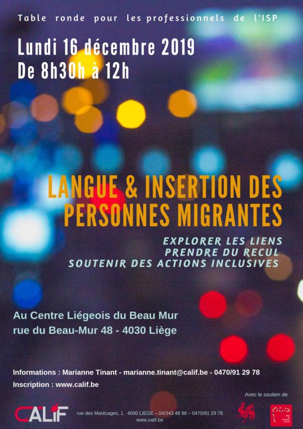 Table-ronde « langue et insertion des personnes migrantes » - le 16 décembre (8h30)