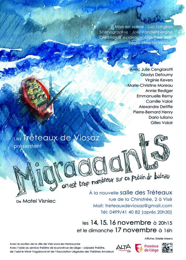Spectacle « Migraaaaants : on est trop nombreux sur ce putain de bateau » de Matei Visniec - Du 14 au 17 novembre
