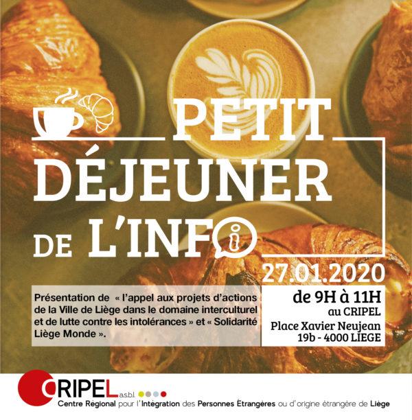 Petit déjeuner de l'Info - 27 janvier (9h-11h)