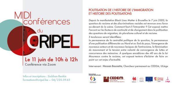 """Midi-Conférence """"Politisation de l'histoire de l'immigration et histoire des politisations"""" - Le 11 juin (10h-12h)"""