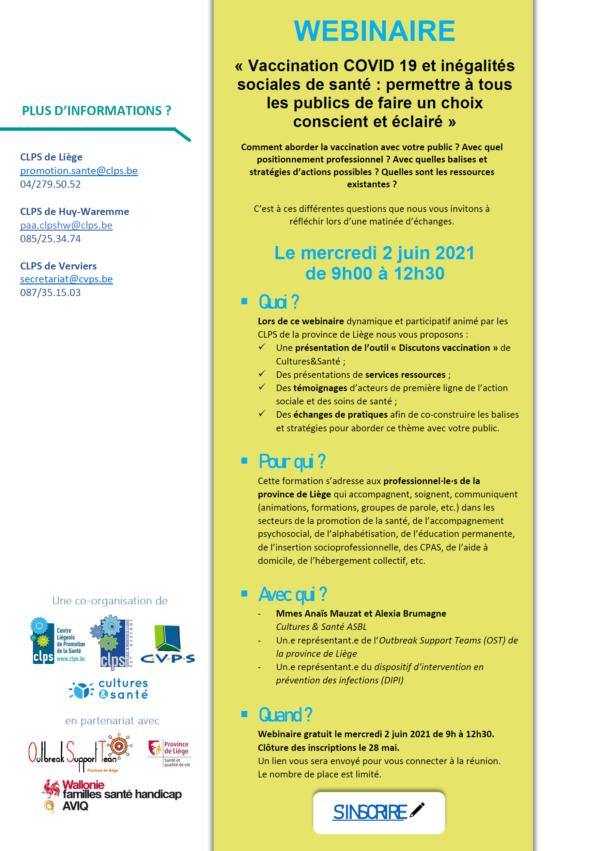 """Webinaire """"Vaccination COVID 19 et inégalités sociales de santé: permettre à tous les publics de faire un choix conscient et éclairé"""" -Le 2 juin (9h-12h30)"""